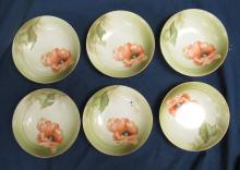 "Lot 2: Six Hand Painted German Berry Bowls, 5 1/2"" Dia. EC"