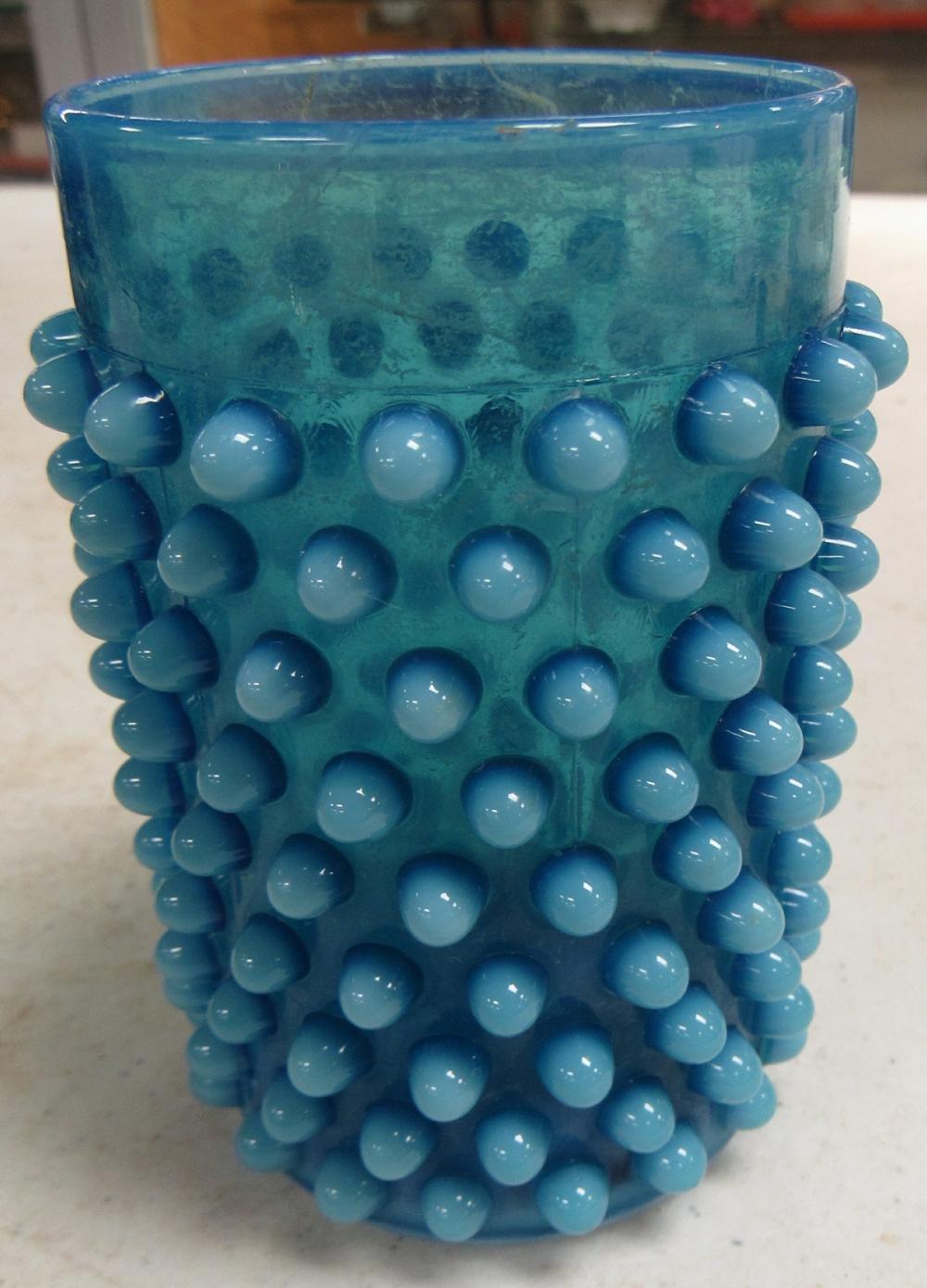 "Vintage Blue Opalescent Hobnail Thumbler, 4"" x 2 1/2"" Dia., EC"