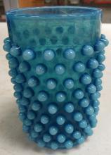 "Lot 8: Vintage Blue Opalescent Hobnail Thumbler, 4"" x 2 1/2"" Dia., EC"