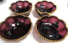 """Lot 13: Antique Purple Berry Bowls with Four Gold Petals 1890's Pattern Glass, 4 1/2"""" Dia x 2""""H, EC"""