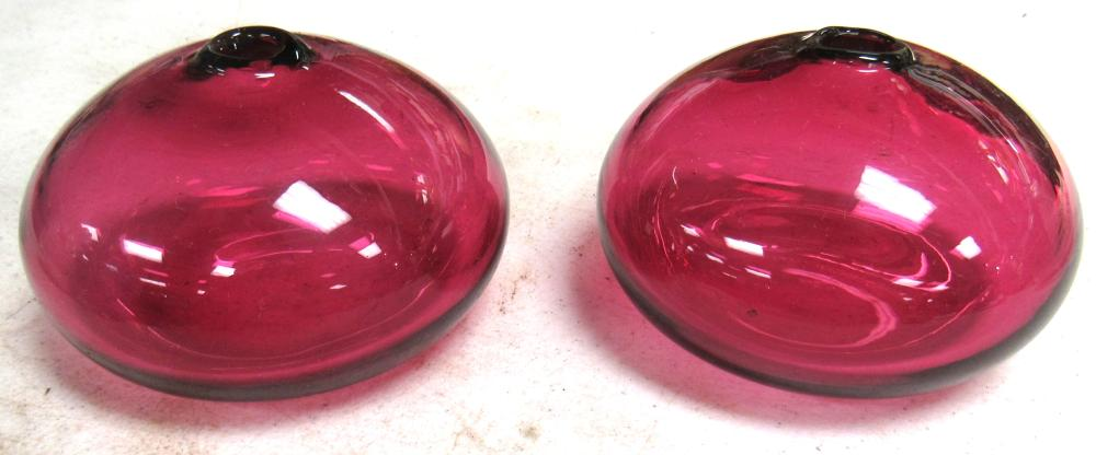 "Lot 18: Cranberry Glass Candle Holders, 4 1/2"" Dia., EC"