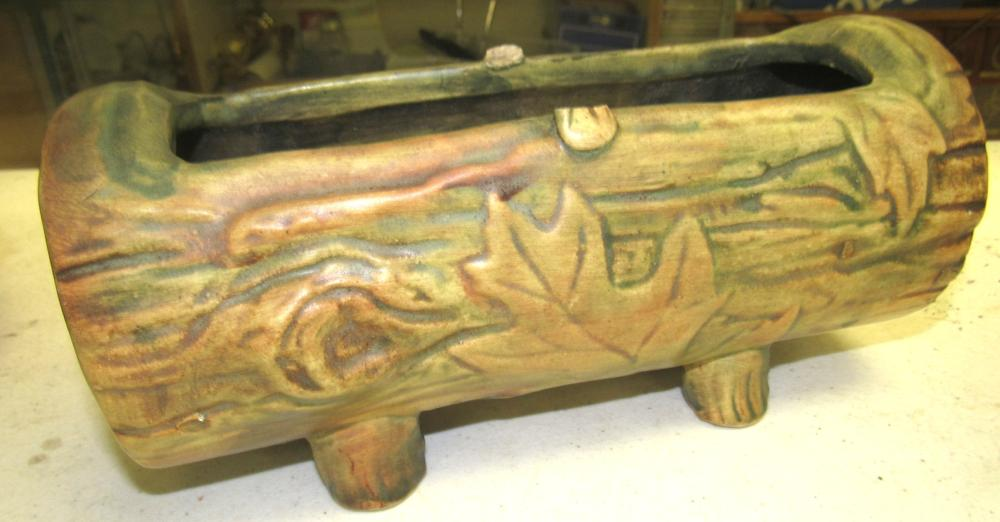 "Antique C.1920-30 Weller ""Woodcraft"" Art Pottery Log Planter Vase, Broken Bridge in Middle but the rest EC"