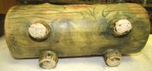 "Lot 23: Antique C.1920-30 Weller ""Woodcraft"" Art Pottery Log Planter Vase, Broken Bridge in Middle but the rest EC"
