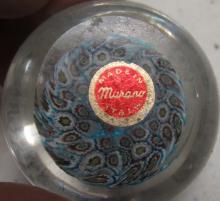 "Lot 28: Vintage Murano Millefiori Art Glass Paperweight, 2"" Dia., EC"