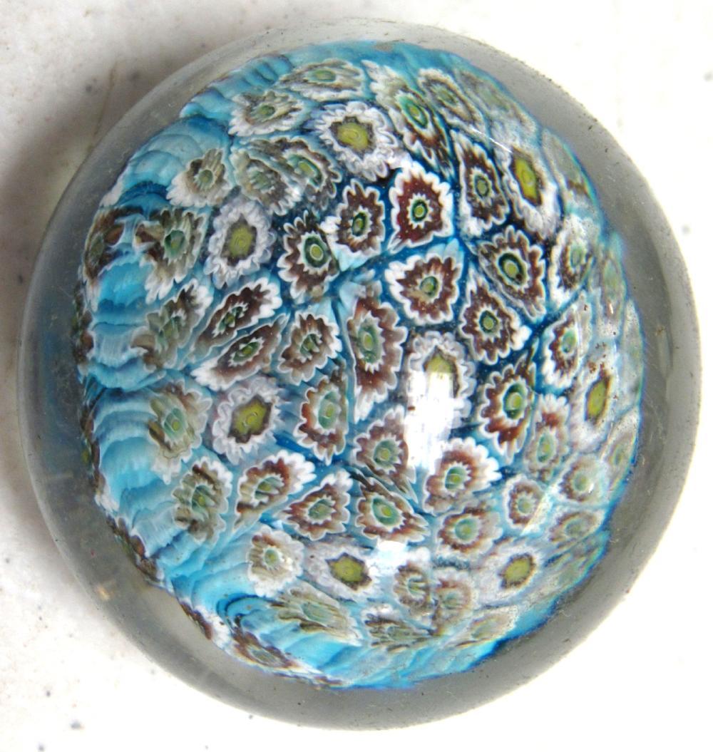 "Vintage Murano Millefiori Art Glass Paperweight, 2"" Dia., EC"