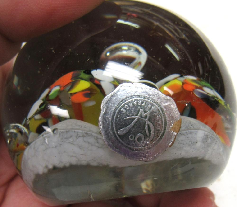 """Lot 48: French Art Glass Carnival Scrambled Stopped Bubbles Paperweight, 2 1/2"""" Dia, EC"""