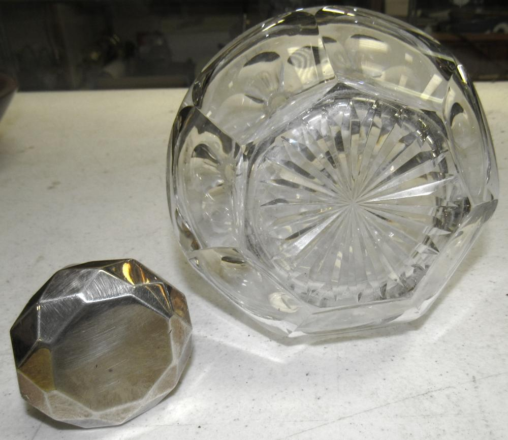 """Lot 58: Antique Crystal Decanter with Silver Coated Stopper, 10"""", EC"""