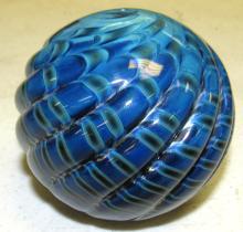 "Lot 68: Vintage paperweight, blue & black, signed 1990 Black Sheep Glass, 2 3/4"" Dia., EC"
