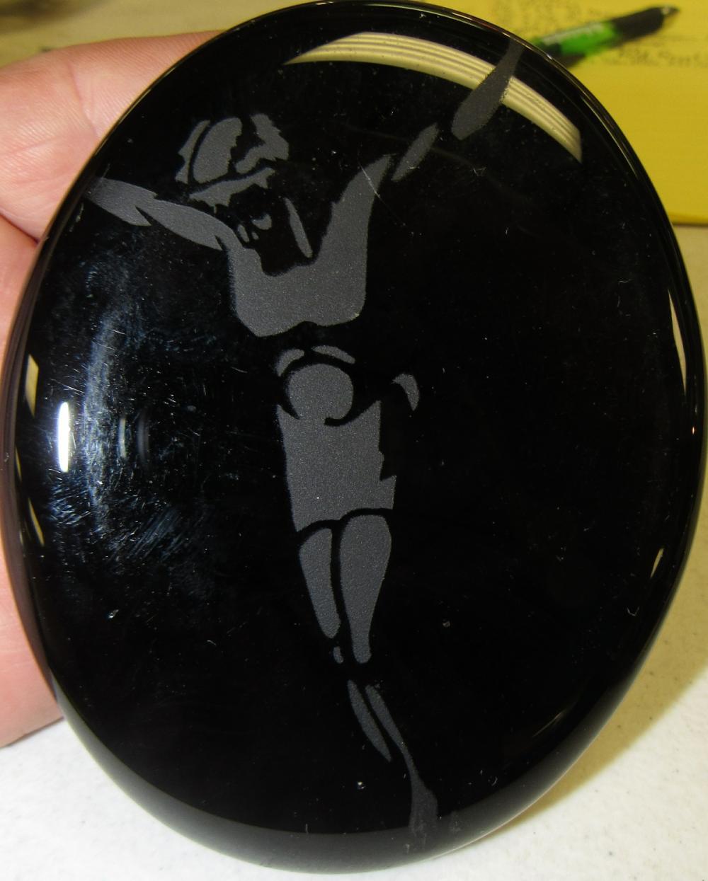 "Vintage Etched Disc Paperweight, Black, 3 3/4"" x 4 3/4"", EC"