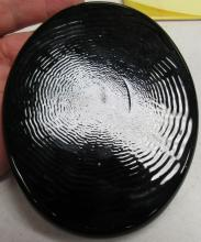 "Lot 83: Vintage Etched Disc Paperweight, Black, 3 3/4"" x 4 3/4"", EC"