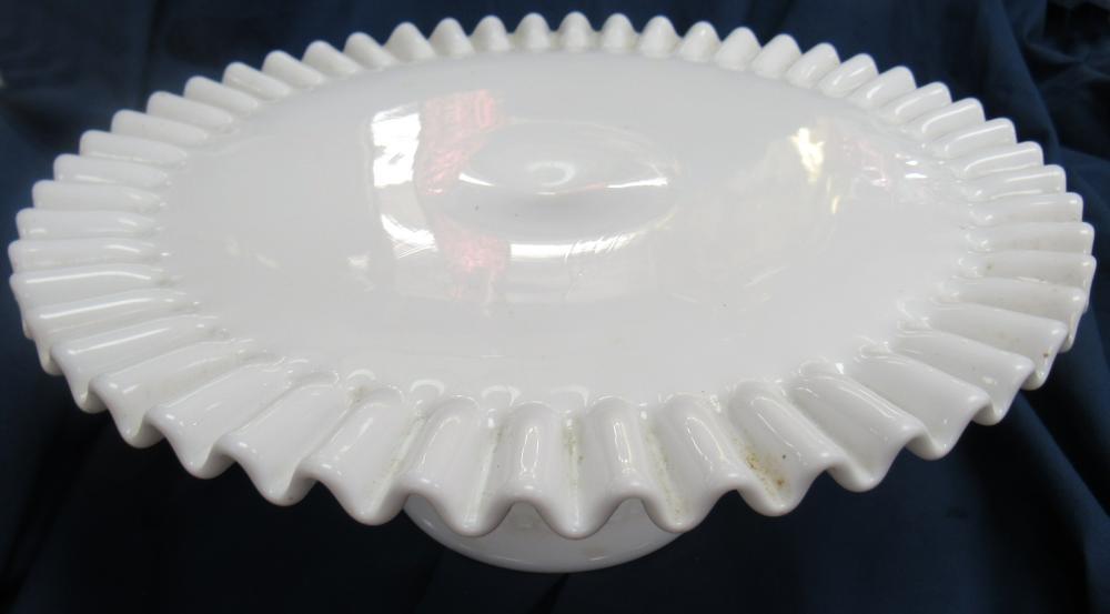 "Vintage Fenton White Milk Glass Hobnail Pedestal Cake Plate Stand Ruffled Edge, 12"" Dia x 4 3/4""H, EC"