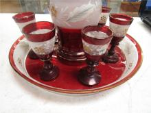 """Lot 56: Antique Ruby Red, Gold Trim, Clear and Hand Painted, Decanter 9 1/2"""", (6) Glasses 3"""" and 9"""" Dia. Tray, EC"""