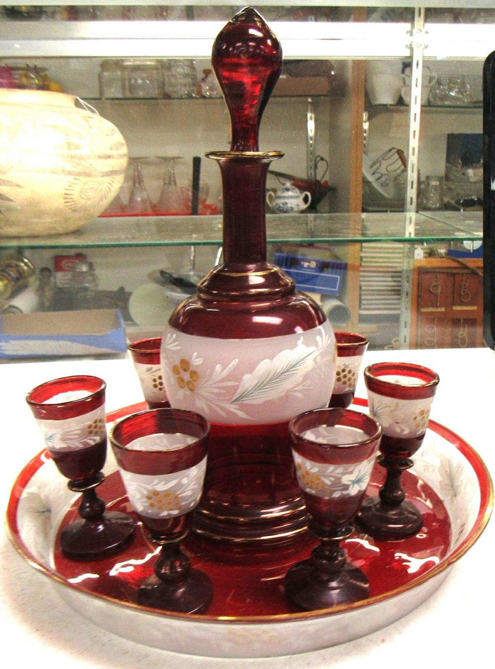 """Antique Ruby Red, Gold Trim, Clear and Hand Painted, Decanter 9 1/2"""", (6) Glasses 3"""" and 9"""" Dia. Tray, EC"""