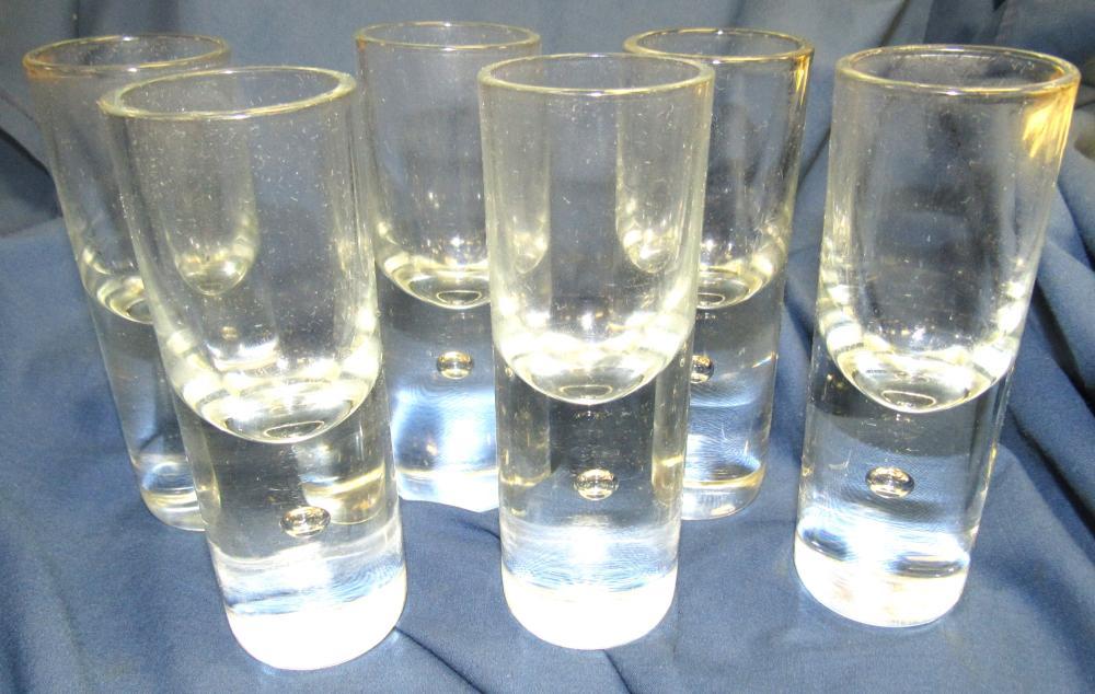 """Set of 6 Kosta Pippi Brandy Cordial Shot Glasses, Swedish Vintage Modernism, 4 3/4""""H, EC"""