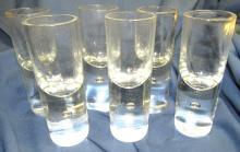 """Lot 66: Set of 6 Kosta Pippi Brandy Cordial Shot Glasses, Swedish Vintage Modernism, 4 3/4""""H, EC"""