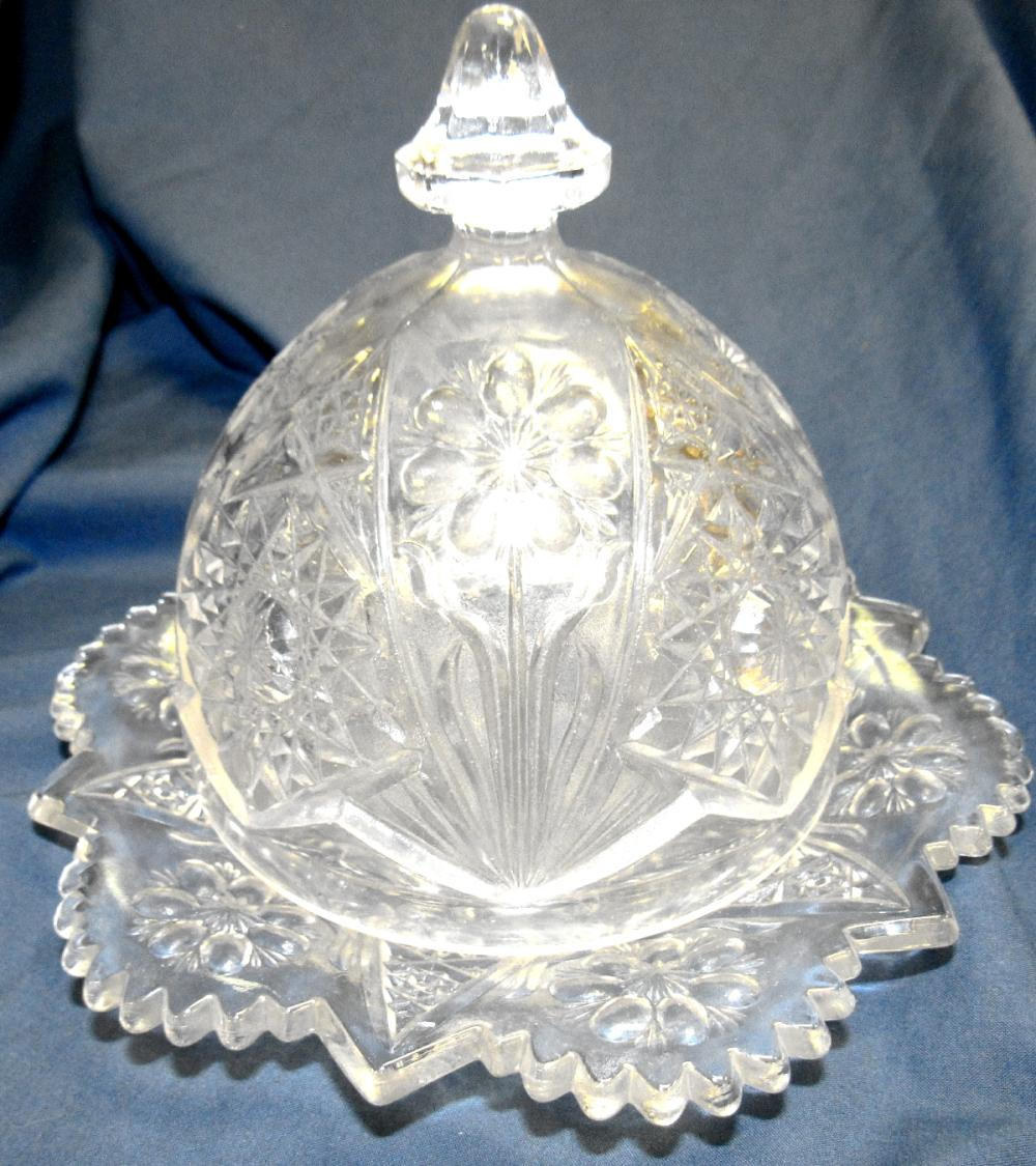 """1950's Cosmos Imperial Butter Dish, 7"""" Dia x 6 1/2""""H, EC"""