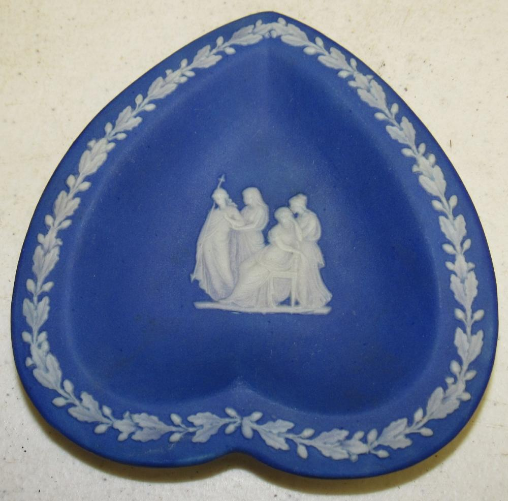 "Lot 96: Antique Portland Blue Wedgwood Jasperware Heart Shaped Dish, 4 1/2"" Sq. EC"