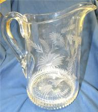 "Lot 103: Vintage Antique Etched Floral Cut Glass Crystal Water Pitcher Heavy, 9""H x 5 1/2"" Dia., EC"
