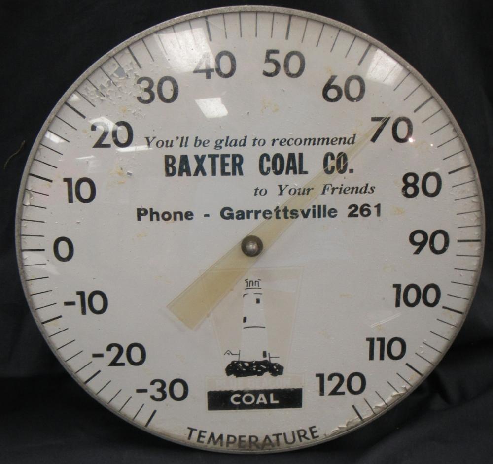 11'' Original Baxter Coal Vintage Advertising Thermometer, VGC