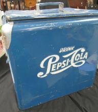 "Lot 128: Vintage Original Pepsi Cola Picnic Cooler Progress Refrigeration Co-Blue, 18 1/2"" tall-19 1/4"" wide-13"" deep, VGC"