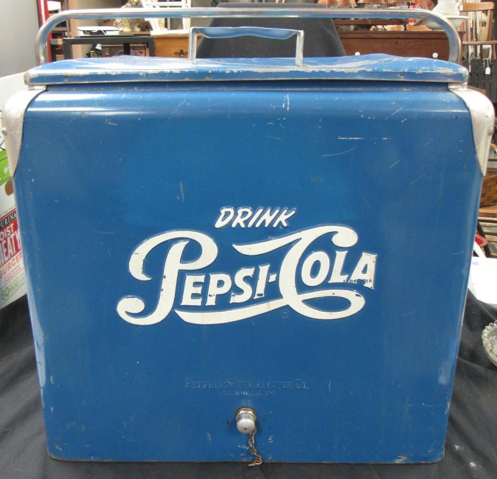 "Vintage Original Pepsi Cola Picnic Cooler Progress Refrigeration Co-Blue, 18 1/2"" tall-19 1/4"" wide-13"" deep, VGC"