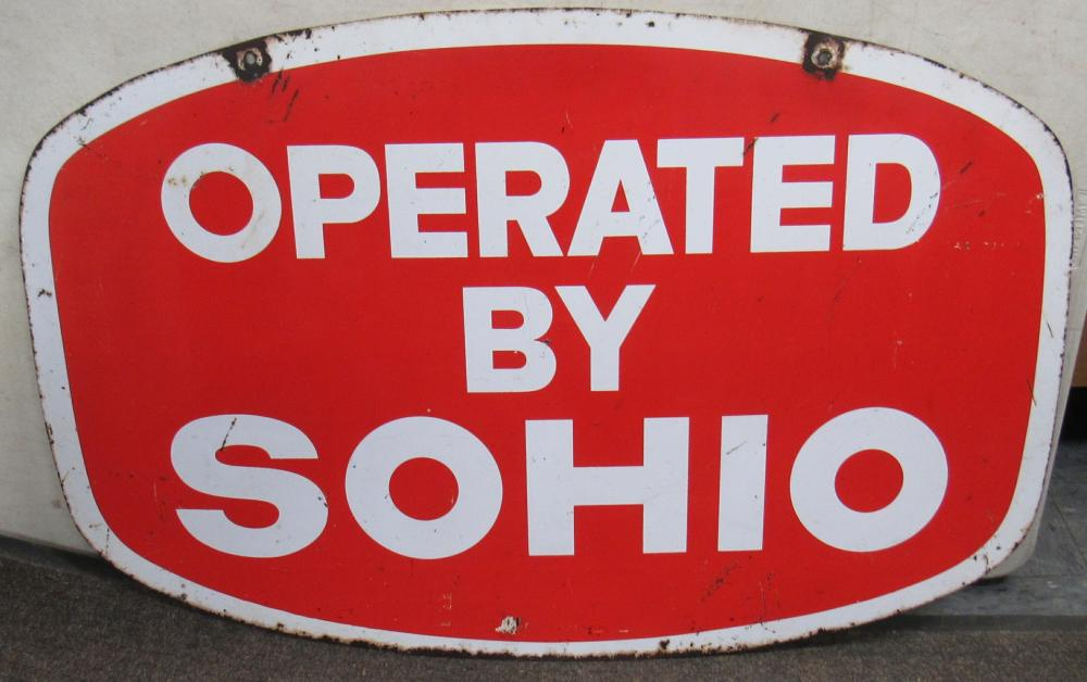 """Vintage Operated by Sohio Double Sided Metal Sign, 36"""" x 24"""", VGC"""