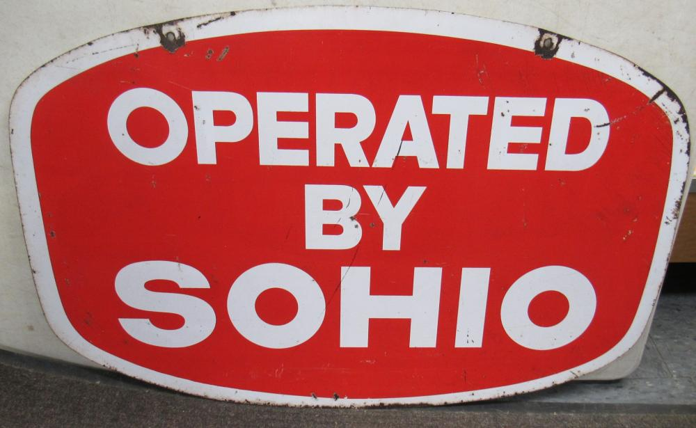 """Lot 136: Vintage Operated by Sohio Double Sided Metal Sign, 36"""" x 24"""", VGC"""