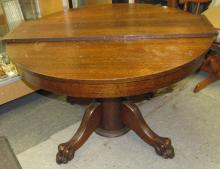 """Lot 149: Antique Oak Claw Foot Table 45"""" Dia x 28""""H, W/1-12"""" Leaf, All Responsibility for Shipping will be the Successful Bidder. You must arrange for pickup directly or by a shipper within 7 days after sale."""