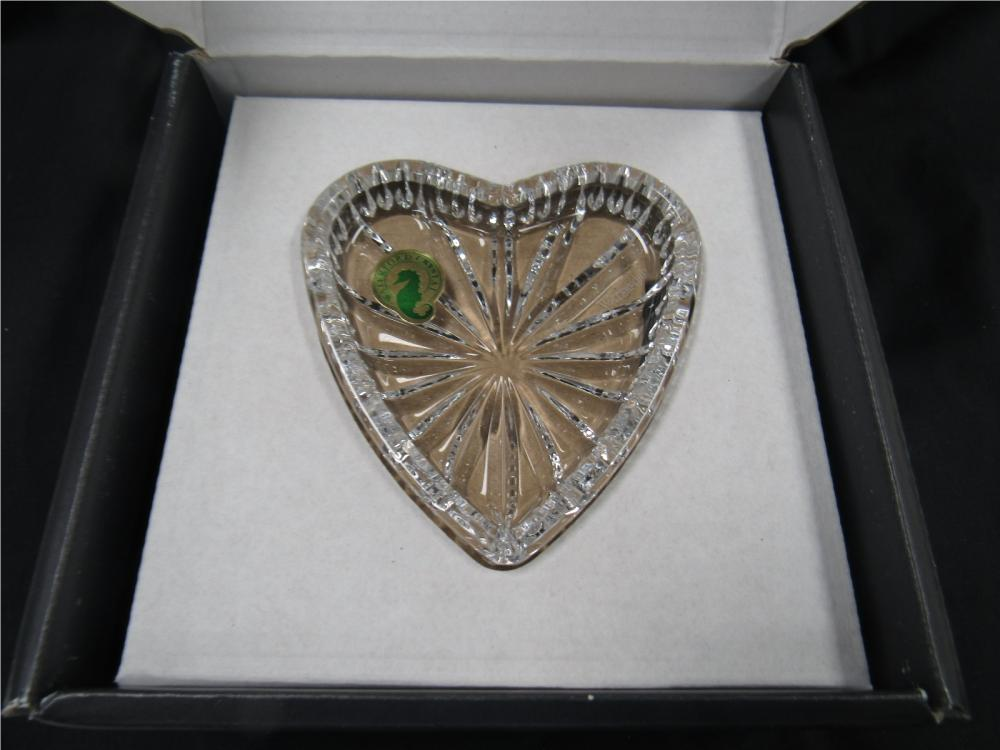 Lot 29: Vintage Waterford Crystal 7 inch Heart Shaped Tray, MIB
