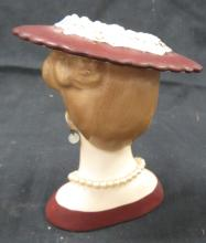 "Lot 19: Vintage 1958 National Potteries Lady Head Vase C3343B Pearl Earrings/Necklace NAPCO, 5""H, EC"