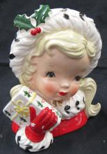 Lot 39: Vintage Napco 1956 Christmas Holiday Blond Girl With Present Head Vase #CX2348A, VG Plus