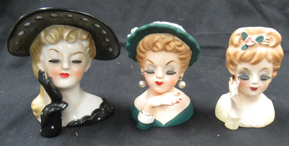 "Three 1960's Head Vases, 4""H, EC"