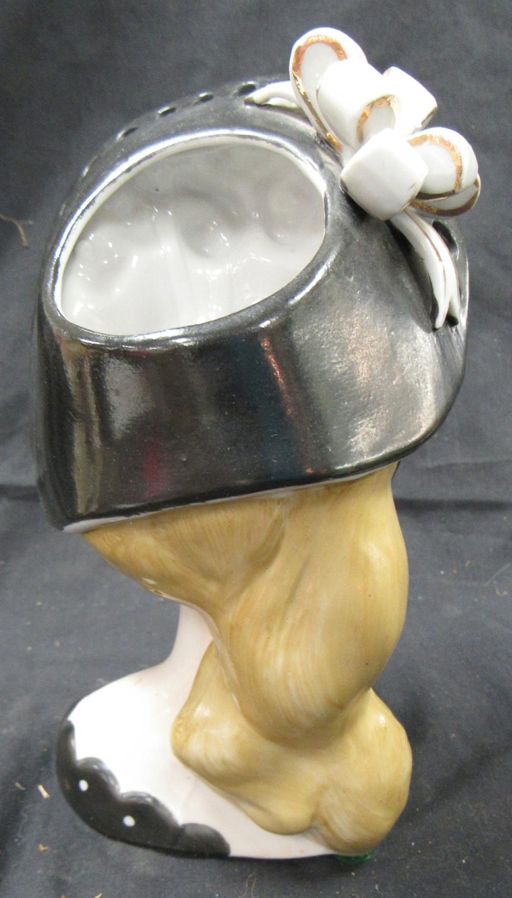 "Lot 89: Lady Head Vase Napco S348A Black Bonnet and Dress 7"", EC"