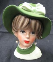 "Lot 109: Vintage 1950's/60's 6""H, Head Vase, EC"