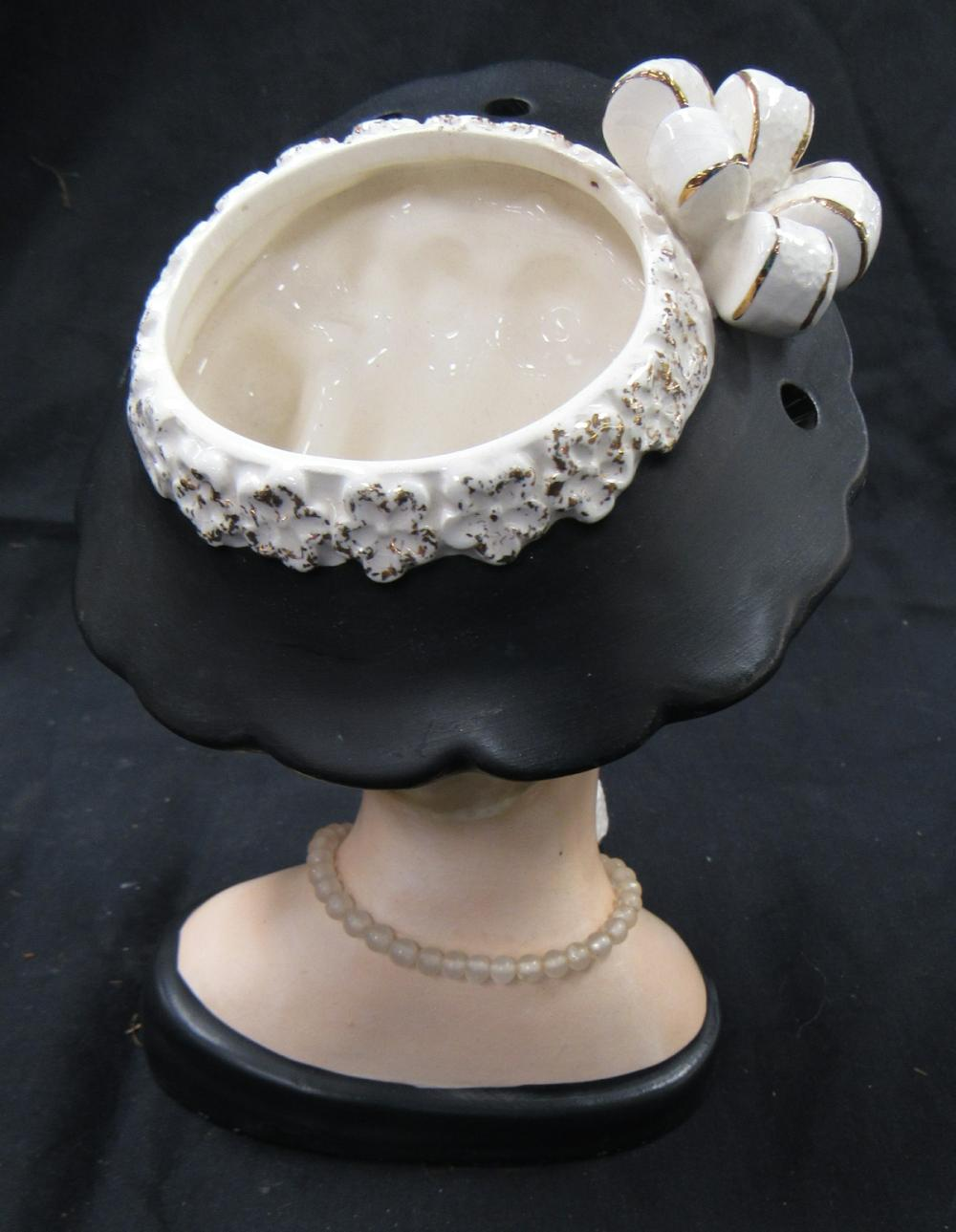 "Lot 118: Vintage 1961 Large INARCO ""Lana Turner"" Lady Head Vase E-190/L Blonde Black Hat, 7""H, EC"