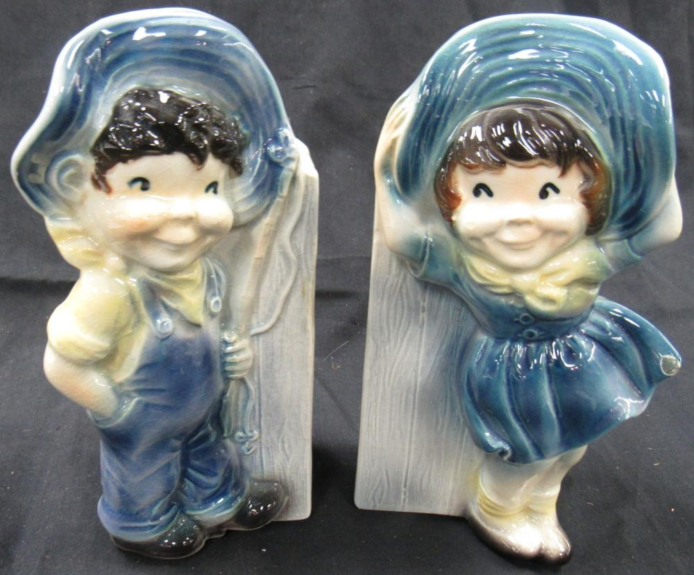 Lot 129: Pair Of Royal Copley Boy And Girl Wall Pockets, Nick on One, 7""