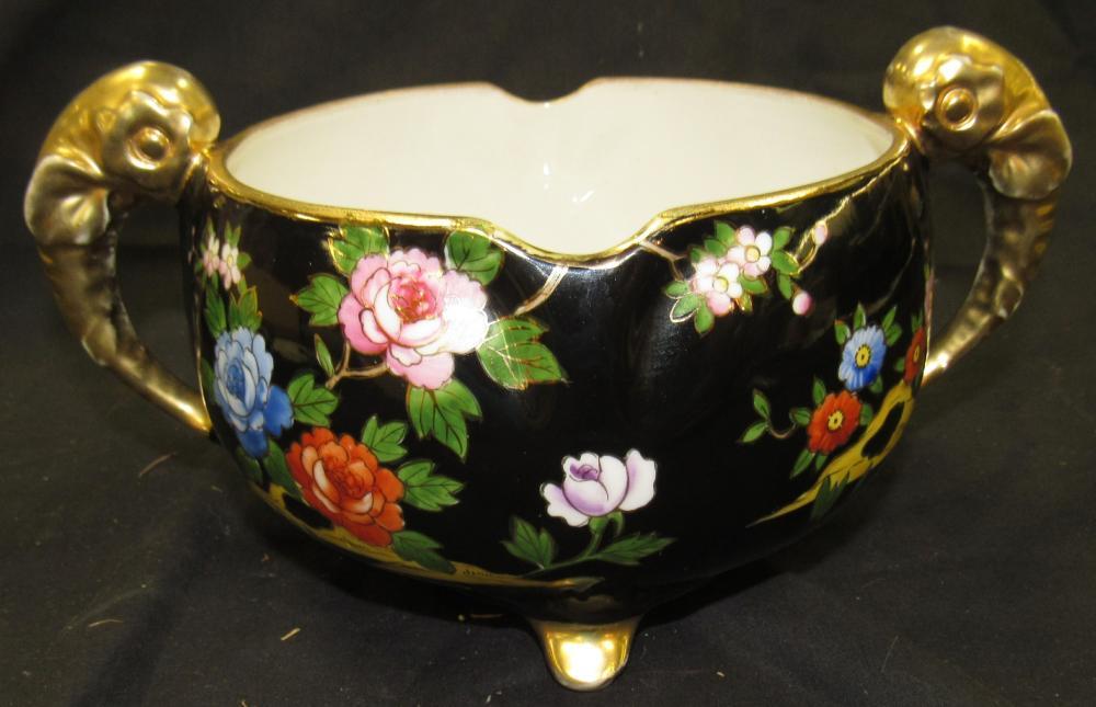"""Noritake Gold leaf Animal Handle Bowl, 6 1/2"""" Dia x 4""""H, EC"""