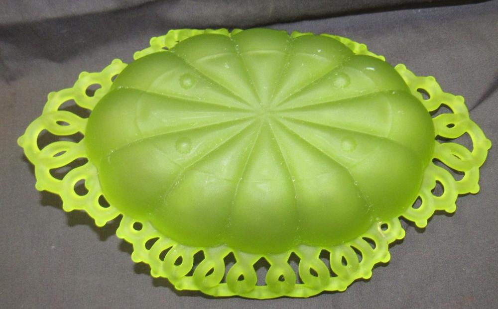 """Lot 156: Westmorland Frosted Green Mist Satin Uranium Glass Vintage Doric Lace Open Dish Bowl, 10 x 6 1/2"""", EC"""