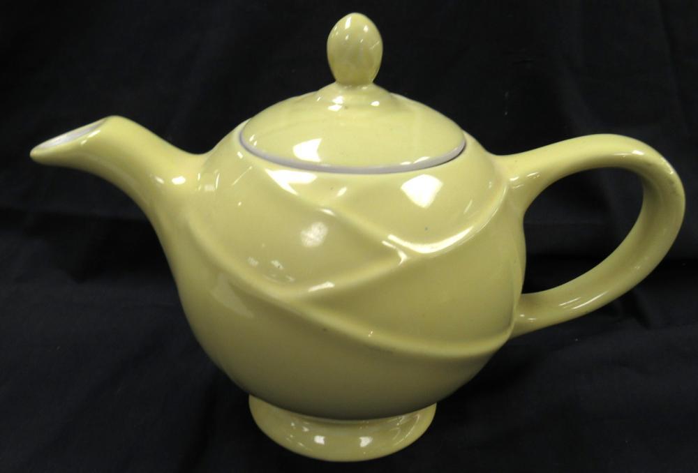"Lot 159: Vintage Hall Yellow Moderne 4 Cup Teapot, 7""H, EC"