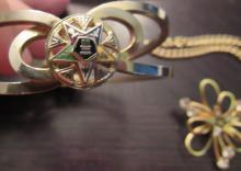 Lot 94: Three Lodge Costume jewelry Pieces. EC