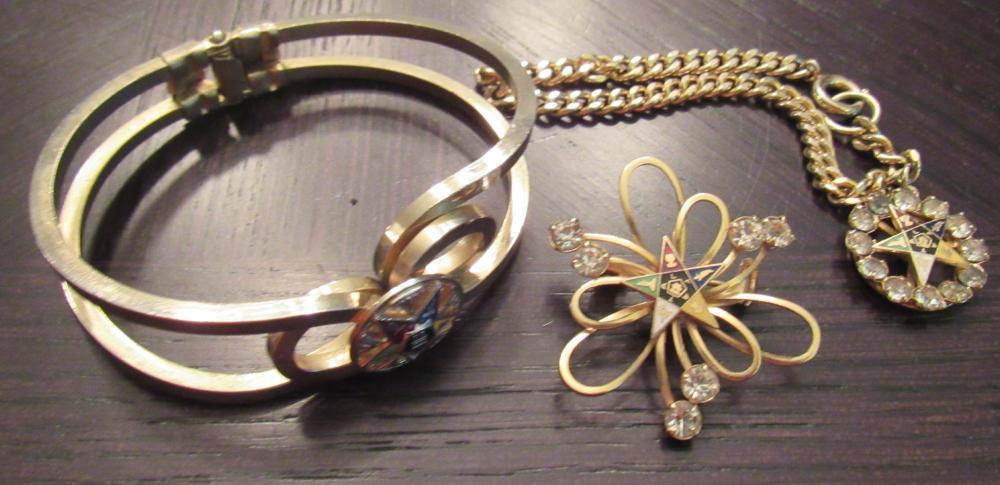 Three Lodge Costume jewelry Pieces. EC