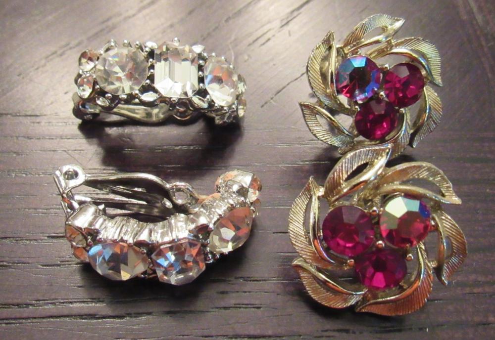 Two Pairs of Vintage Signed Lisner Rhinestone Clip Earrings, EC