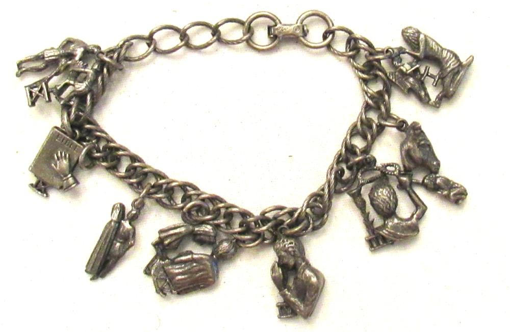 Vintage Coro 10 Commandments Silver Tone Charm Bracelet 7 inch , EC