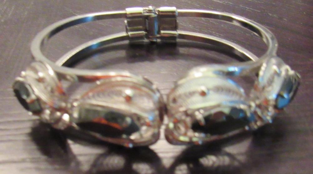 "Four Gem Stone Marked Sterling Bangle Bracelet, 2"" x 2 1/2"", EC"