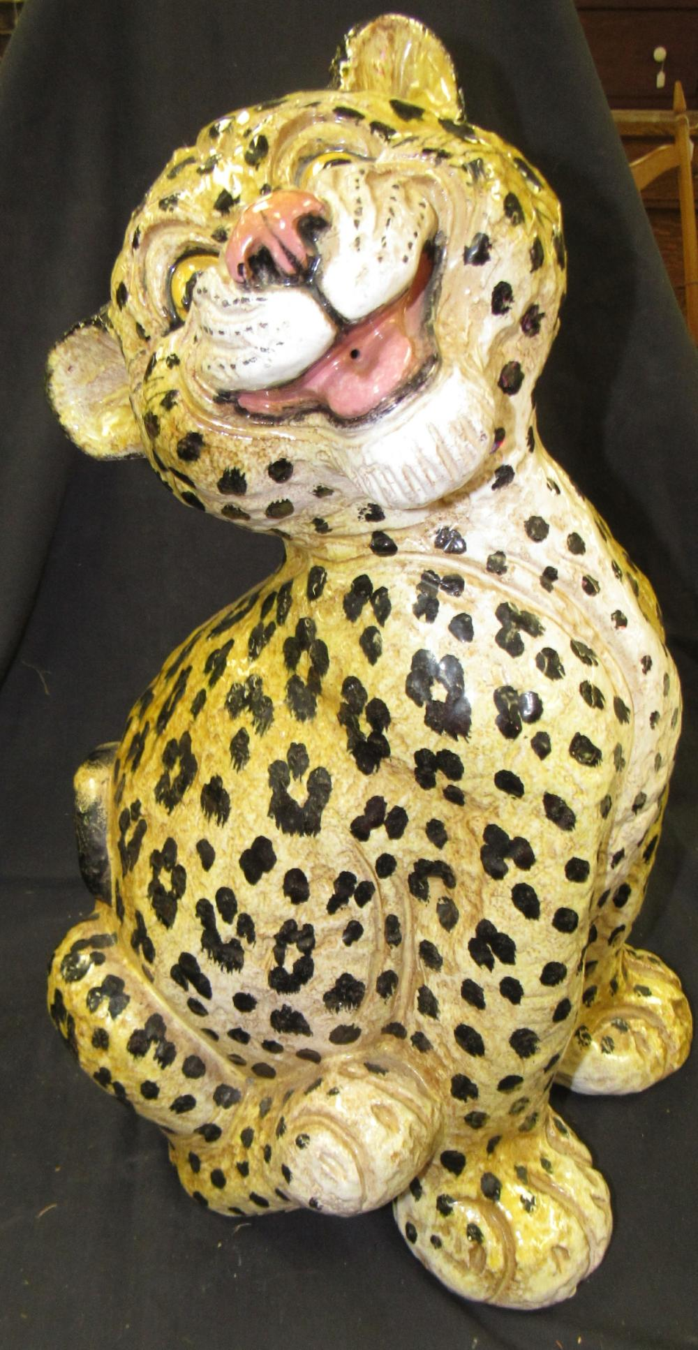 "Laughing Leopard Ceramic Figure, 18""H, EC"