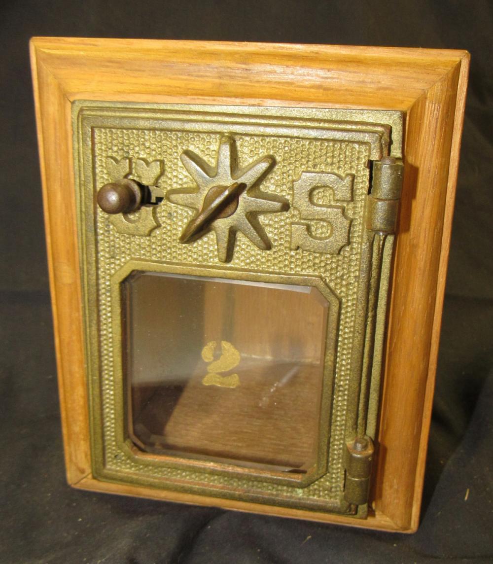 """Antique Post Office Door US Postal Mail Box Door Box, 4 x 3 1/2"""" x 6 1/2""""H, EC"""