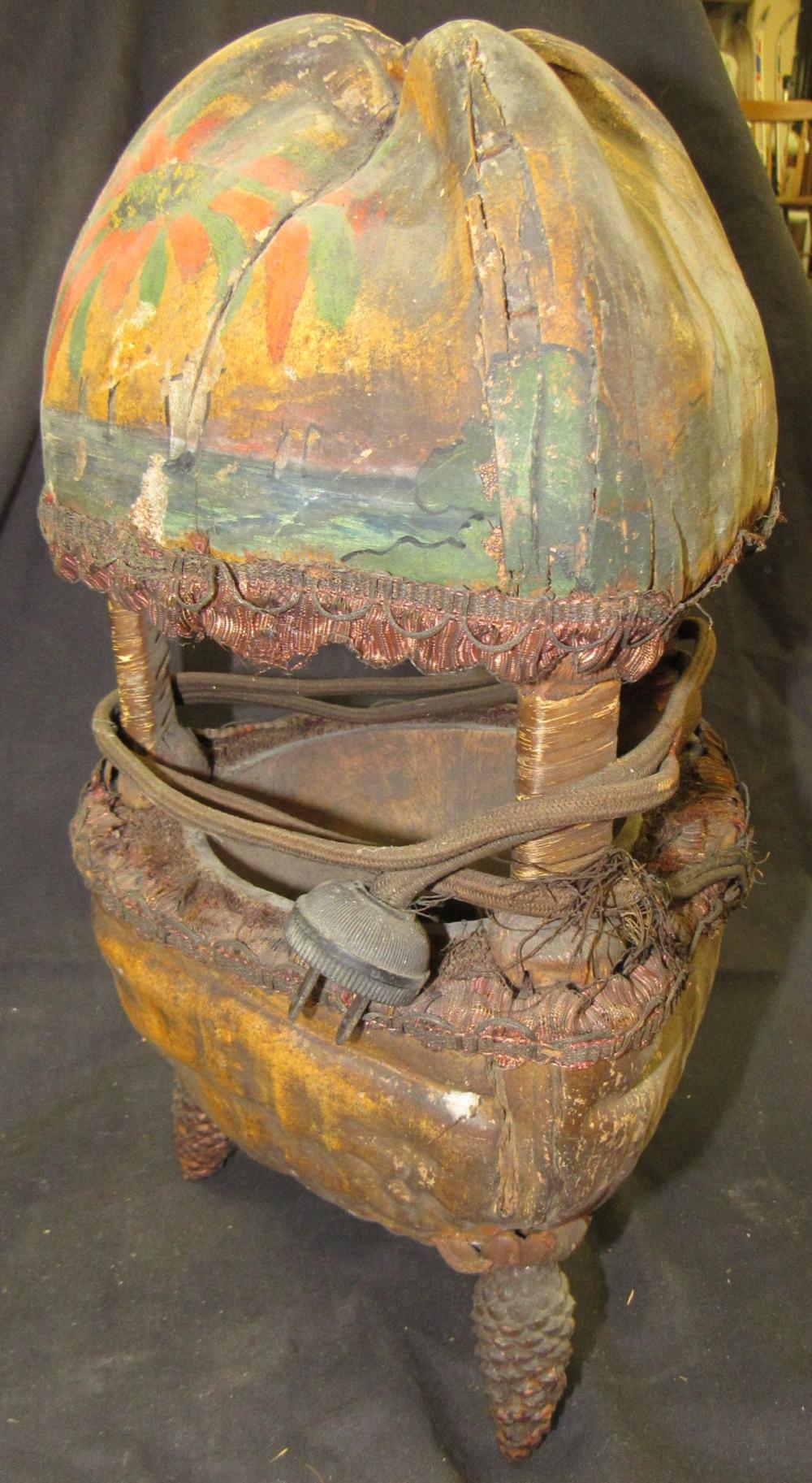 "Vintage Handmade Coconut Shell Lamp, 14""H x 7 1/2"" Dia., EC"