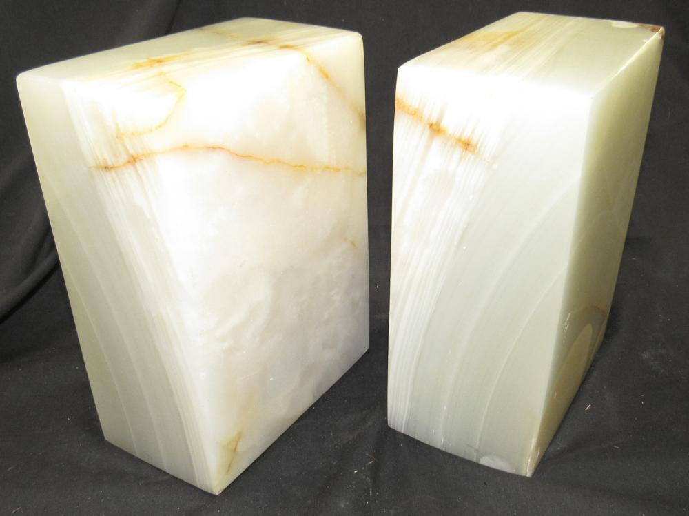 """Antique Alabaster Marble Stone Bookends, 3 x 5 x7""""H, EC heavy"""