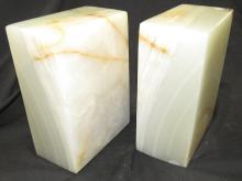 """Lot 168: Antique Alabaster Marble Stone Bookends, 3 x 5 x7""""H, EC heavy"""