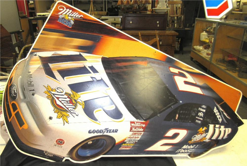 1997 Miller Lite NASCAR Racing #2 Ford Stock Car [42'' x 27''] Metal Promo Sign, EC